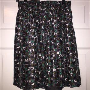 Tibi green patterned silk skirt